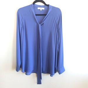 LOFT Periwinkle Blue V neck tie blouse